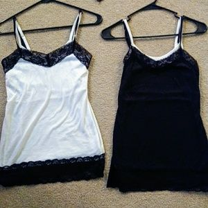 🌼2 Gorgeous Tank Tops Lace Trim Size Small! *!